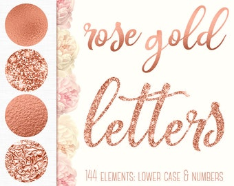 Rose gold alphabet clipart, Rose gold font, Lower case letters, Foil alphabet, Glitter Numbers, Rose gold letters, Wedding clipart, PNG