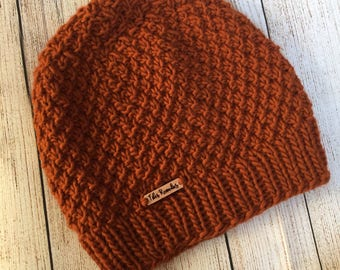NEW PRICE | Pumpkin Textured Hat | Pumpkin Orange | Ready to Ship | Hand Knit | Made in Michigan