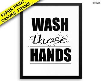 Wash Hands Wall Art Framed Wash Hands Canvas Print Wash Hands Framed Wall Art Wash Hands Poster Wash Hands Bathroom Art Wash Hands Bathroom