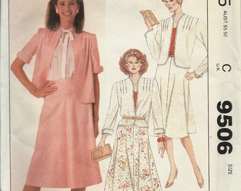 McCall's 9506      Misses  Jacket and Skirt        Size 16       Uncut      C1985