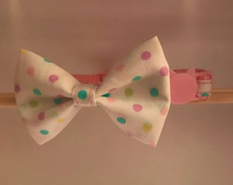 "Spring / Easter Cat Collar with Bow Tie - ""Candy Dots"" - Breakaway Cat Collar / Kitten Collar"