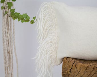 Off white pillow cover, ivory pillow cover, cream pillow cover, wool pillow cover, rectangle pillow cover, fringe pillow cover
