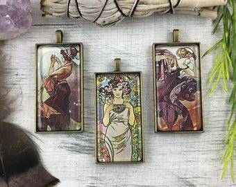 Alphonse Mucha Pendant // Glass Cabochon Antique Brass Pendant // 16 Inch Necklace Included // Gift Boxed // Item No 1/2/3