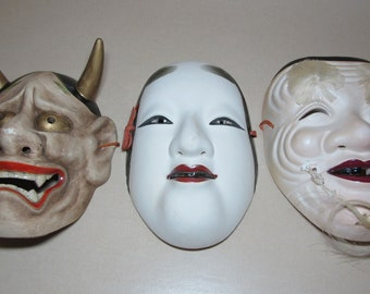 Antique Japanese Noh Mask, 1950s Cir. Artist Signed Noh Theater Mask, OKINA Old Man,KOOMOTE Woman,HANNYA Jealous Female Spirit, Mezuroi