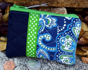 Quilted Coin Purse, Ladies Zipper Wallet, Navy Change Purse, Earbud Pouch,  Zipper Pouch, credit card pouch