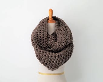 READY TO SHIP Oversized Infinity Scarf, Chunky Super Scarf, Barley Scarf, Oversized Knit Scarf, Huge Circle Scarf, Loop Scarf, Snood, Brown