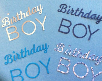 4 Birthday Boy Words, Handmade, Blue, Navy Blue, Blue Checked, Gray and White, Cardstock, Sizzix, Cards, Scrapbooking