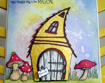 3D birthday card/cute little house card/whimsical card/any occasion card