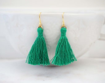 Bright Green and Gold Tassel Earrings