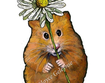 Clip Art: Freehand Drawing Cute Hamster Holding a Big Daisy Flower, Commercial Use, jpg and png files, INSTANT DOWNLOAD, Scrapbooking, Cards