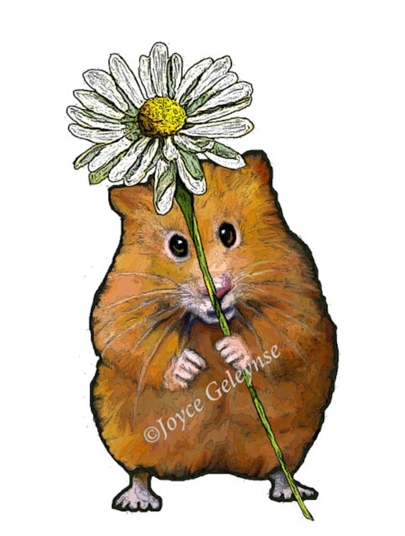 Clip Art: Freehand Drawing Cute Hamster Holding a Big Daisy