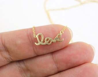 Dainty Necklace, Tiny Gold Cursive Love Necklace, Bridesmaid Gift, Flower Girl Necklace, Birthday Gift - 5032
