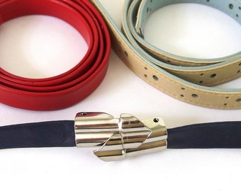 Vintage 1980's Skinny Belt Set; Red, Blue, Gray, Tan Belting; Up to Modern Size 8, Small