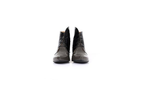 gray shipping and shoes heel Booties handmade Womens patent Boots black womens adikilav free shoes chunky Pointy Leather lace up UBw1pffq4W