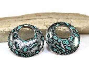 Enameled Copper Components~Turquoise Shadded Black~Bohemian Beads-Boho