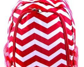 Personalized  Girls CHEVRON Backpack  RED CHEVRON