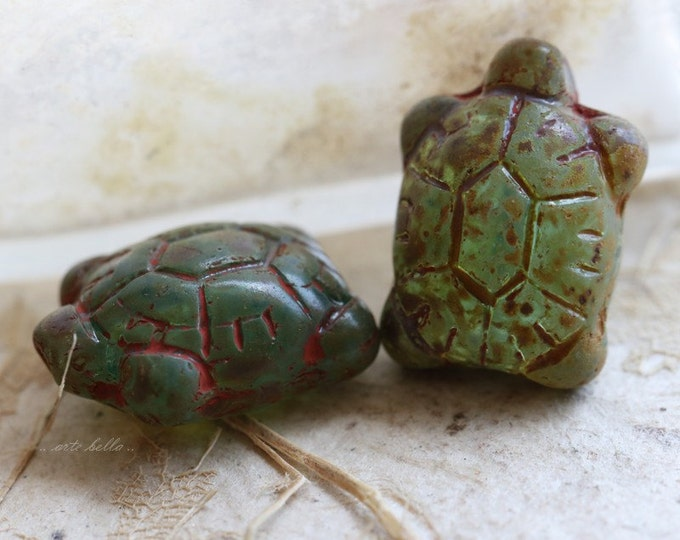 sale .. AGED TURTLES .. 2 Czech Picasso Glass Turtle Beads 20x8mm (5302-2)