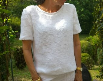 short sleeves white cotton sweater size small