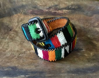 Vintage Guatemalan Belt, Guatemalan Colorful Woven and Black Leather Belt, Ethnic, Bohemian, Hippie, Unisex Guatemalan Belt