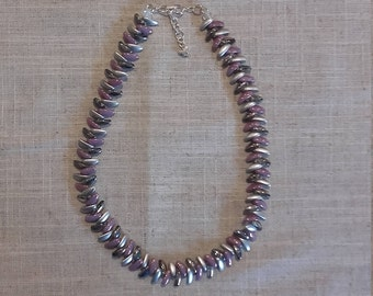 Beautiful princess style necklace in mauve and silver with adjustable chain fastening
