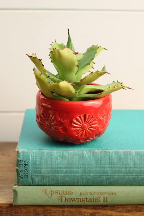 red succulent planter // cactus planter // succulent pot // small ceramic pot // succulent gift