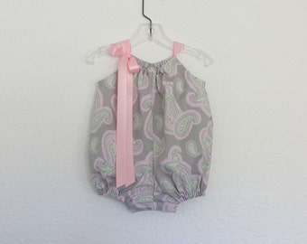 Baby Girls Pink and Grey Bubble Romper - Grey SunSuit with Pink & Green Paisley - Baby Girl Summer Clothes - Size NB, 3m, 6m, 9m, 12m or 18m