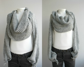 Silver Gray Knitted Bolero Scarf Shawl Neckwarmer Winter Fashion Christmas Outdoors Gift Knit Accessories