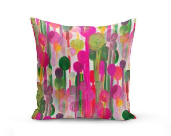 Colorful Pillow Cover, Decorative Throw Pillow, Fuchsia Green, As Seen in HGTV magazine