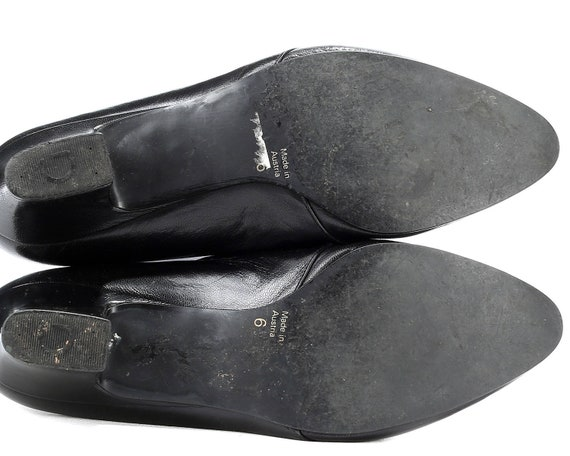 Heel MONK Shoes Stable STRAP Leather 5 Low 8 Flat Black Inlays European Flats 5 5 Eur Uk Quality Fit 80s Wide Stretchy size Germany 38 Women wPtFq55