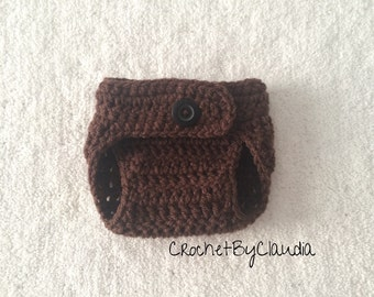 Crochet Baby Brown Diaper Cover/ PhotoProp/ Made to Order