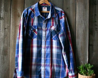 Levis Western Shirt Mens Cowboy Country Long Sleeve Shirt 90s Vintage From Nowvintage on Etsy
