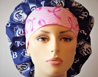 Scrub Hats Tampa Bay Rays with a Breast Cancer Awareness Headband Bouffant Surgical Scrub Hats Tampa Florida Support Your Team Last One