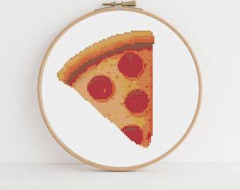 Pizza Slice Emoji Cross Stitch Pattern