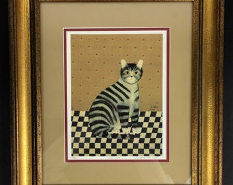 Carol Offet ~ Sarah's Cat ~ Limited Edition ~ Art ~ Lithograph ~ Country ~ Folk Art ~ Print ~ Picture ~ 1985 ~ Framed ~ Indiana ~ Vintage