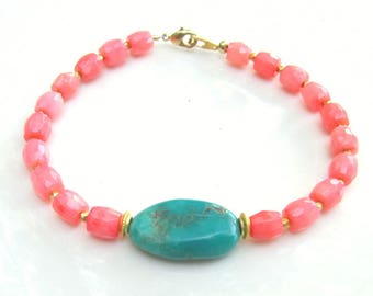Turquoise and Faceted Pink Coral Bracelet - Handmade Jewelry