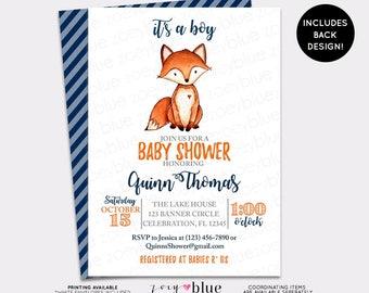Fox Baby Shower Invitation Little Fox Watercolor Baby Shower Invite Boy Woodland Baby Sprinkle Invitation Boy Blue Orange Baby Shower Invite