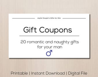 Printable gift for him, gift for boyfriend, digital gift coupons, naughty  coupons,
