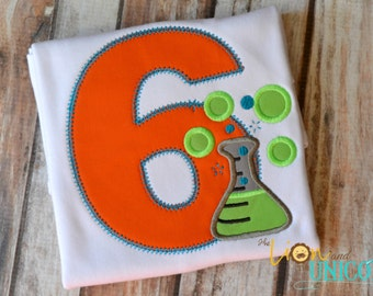Science Flask Beaker Birthday Shirt - number and colors can be changed