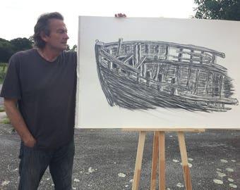 Large Charcoal Drawing: Boat Wreck at Camaret-Sur-Mer