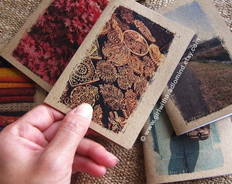 Wood Notebook 30. Mini Journal - Wood of Flowers PRINT - Small Pocket Size Travel Diary