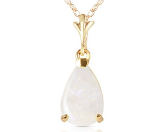 14K. solid gold  necklace  WITH NATURAL OPAL white gold yellow gold rose gold