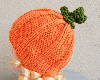 warm Hat for a child 6 month-1 year , color, Pumkin hat, baby merino wool, does not bite, a little girl,boy