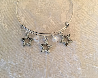 Stars Charm And Clear Aurora Borealis Crystal Adjustable Wire Bangle Bracelet