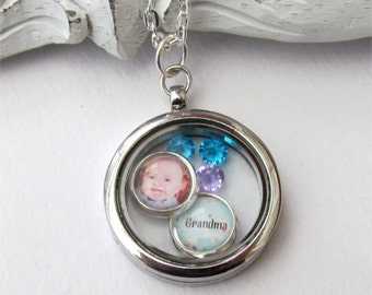Grandma Necklace, Personalized Floating Locket, Photo Necklace, Gift For Grandma
