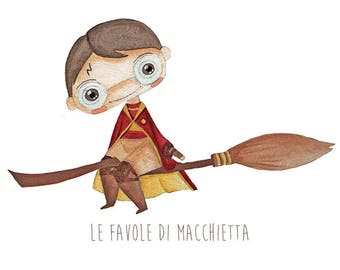 Illustration Harry Potter, harry potter quiddich, quiddich print, print Harry Potter, fan art, Gryffindor poster, digital print.