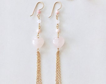 Heart Rose Quartz, Pink Coral, Rose Quartz, Dangling Chains Earrings, 14K Gold Filled, Made in Hawaii