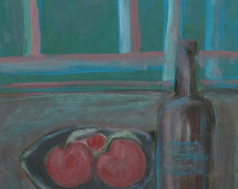 Still life bottle & apples vintage oil painting