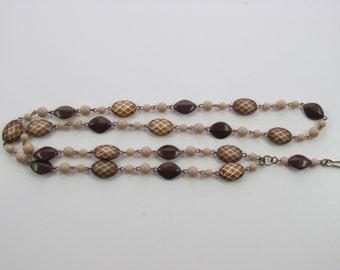 204 - Tan & Brown Acrylic Beaded Lanyard #2