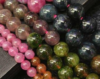 """16"""" inch Rainbow Round  Tourmaline  Beads, Natural  Tourmaline  Beads, 5mm 6mm 7mm 8mm DIY Jewelry"""