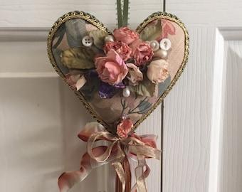 SALE Gorgeous flowered Valentine Heart ~ Victorian chic~original design